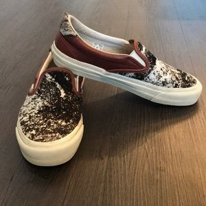 Vans leather cowhide slip-on sneakers